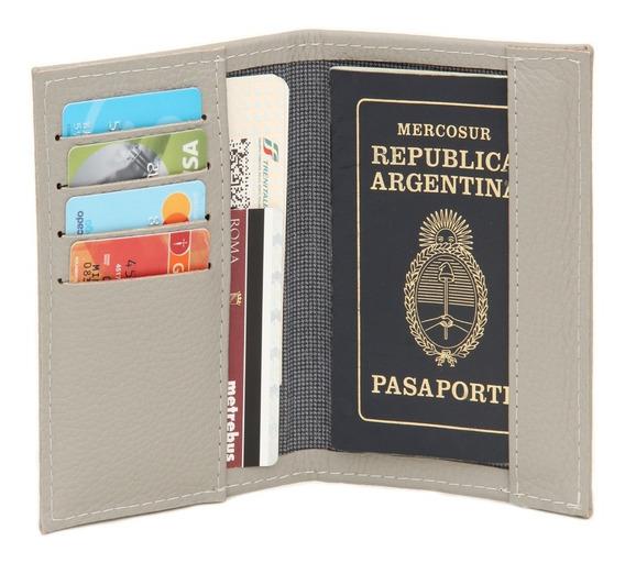 Funda Porta Pasaporte De Cuero Genuino Nude Con Tarjetero