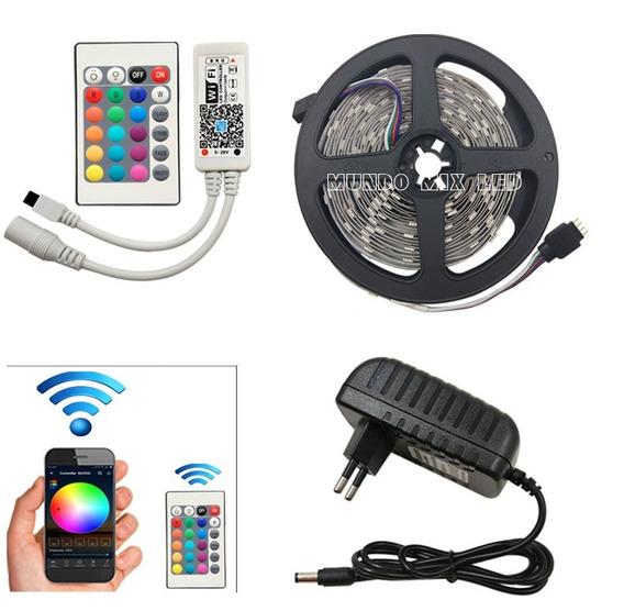 Fita Led Rgb 5050 5m Ip65 +controle Wifi Google Home + Fonte