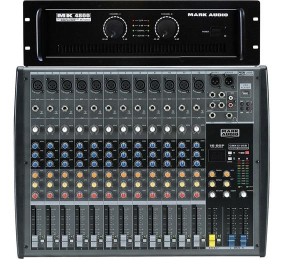 Kit Mark Audio Amplificador Mk4800 800w + Mesa Cmx 12 Canais