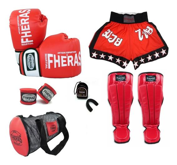 Kit Boxe Muay Thai Fheras Orion Caneleira Bolsa Shorts - Ver