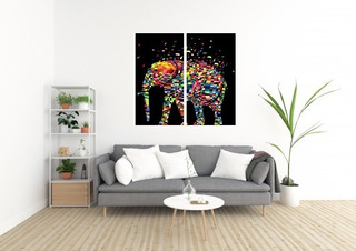 Canvas Cuadro Moderno Elefante Multicolor