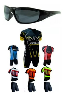 Conjunto Roupa + Óculos Ciclismo Camisa Bermuda Penks Bike