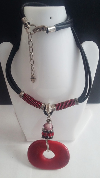 Collar+pulsera+aretes -piedra Roja Caucho-