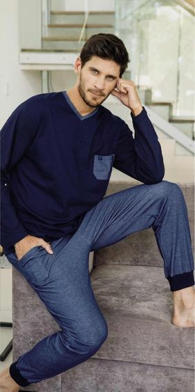 Pijama Hombre Negro Manga Pantalón Largo Tipico 887 Algodon