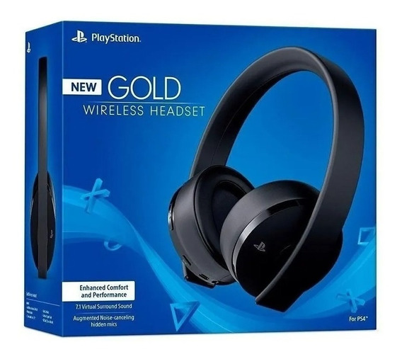 Fone Headset Ps4 Pro Ps3 Sem Fio Gold Sony 7.1 Gamer