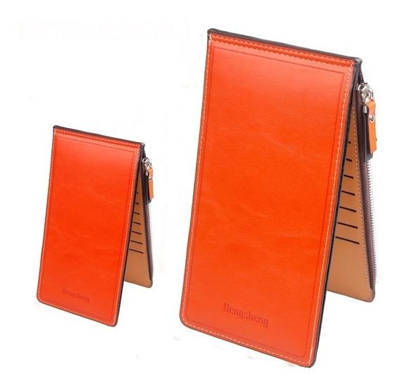 Cartera Largar Naranja Billetera Cremallera Hengsheng Moda