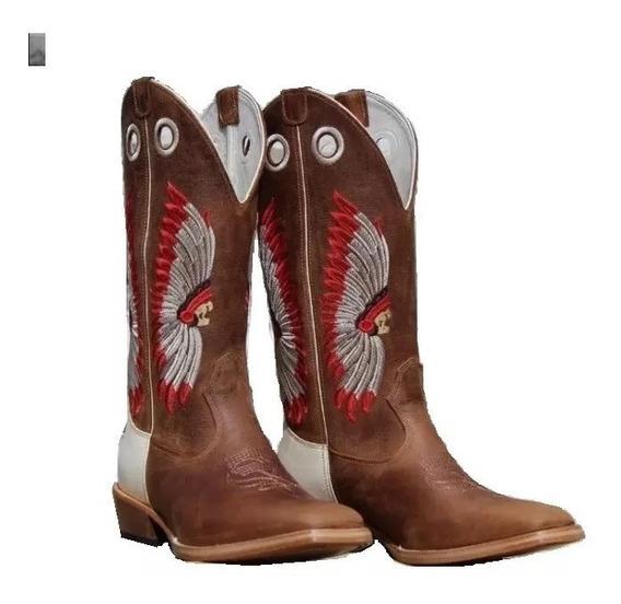 Bota Country Bico Quadrado Masculina Carrapeta Rodeio