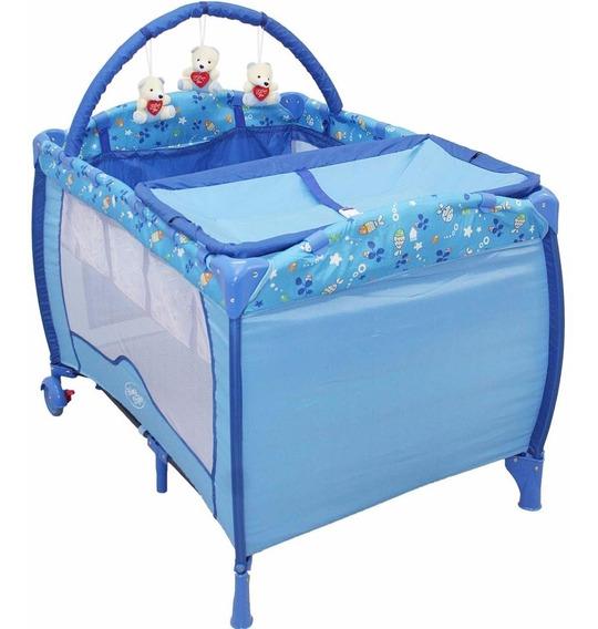 Berço Bebê Cercado Desmontável Baby Style Plus - Oceano