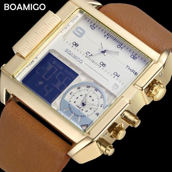 Relógio Masculino Dourado Boamigo Couro Xxl Digital Dual