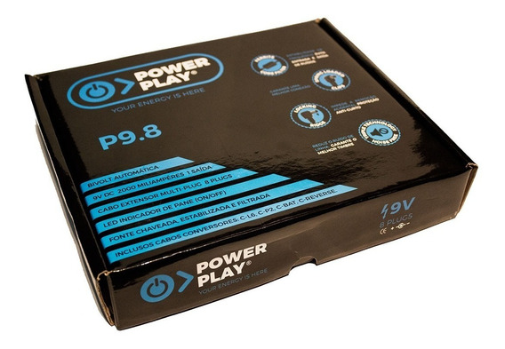 Fonte Power Play P9.8 2000ma Para 8 Pedais 9v Bivolt