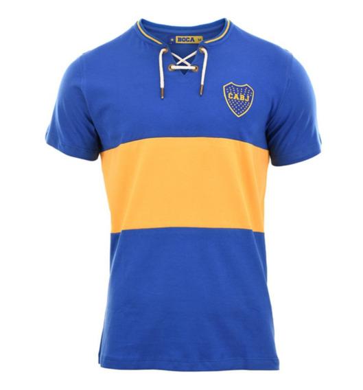 Camiseta Boca Juniors Vintage Retro Cordones