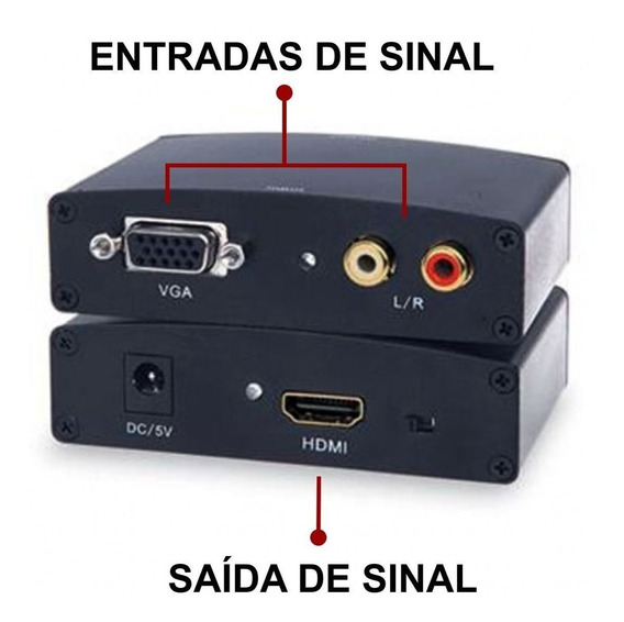 Adaptador Conversor De Vga C/ Rca Para Hdmi 1080p Promoção