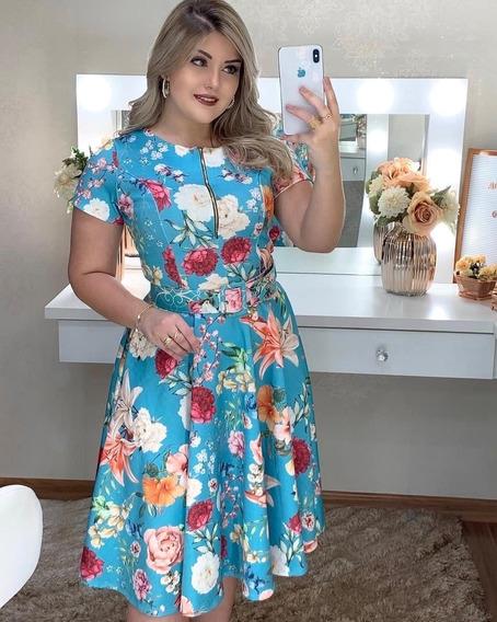 Vestido Midi Godê Rodado Estampado Floral Com Cinto E Bolsos Roupas Femininas Congresso Cristã Gospel Moda Evangélica Cn