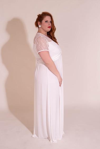 Elegante Vestido En Talles Grandes - Xl A 4xl Mangas Con Terminacion En Borde De Raso