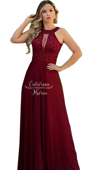 Vestido Longo Festa Marsala Tifany Rose Coral 44 46 Evase