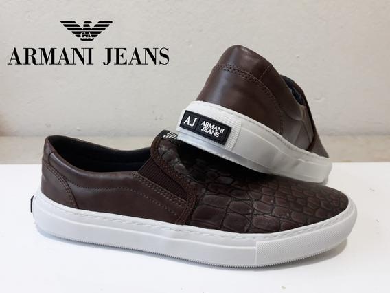 Tênis Sapatênis Slip On Armani Jeans Café Frete Grátis