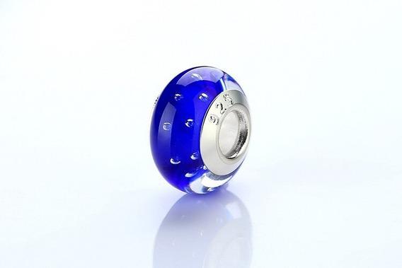 Berloque Pandora Ou Vivara Life Blue Murano Glass Prata 925