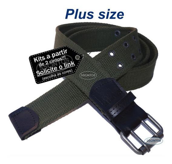 Cinto Plus Size Masculino Lona Premium 2 Bordas 4cm L39 Cz