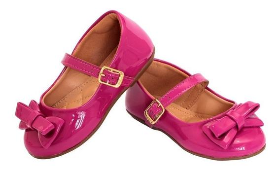 Sapatilha Infantil Pink Verniz Tope De Enfeite Tira Afivelar