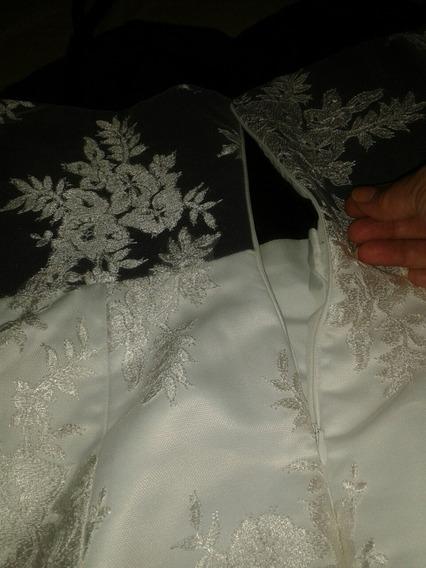 Vestido De Fiesta En Blonda Blanco Y Negro 5 Vrd