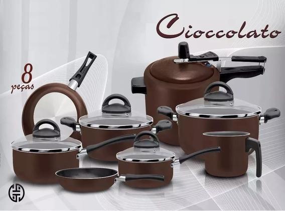 Conjunto De Panelas 8 Peças Chocolate C/ Panela De Pressão