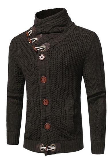 Suéter Hombres Botón Bocina Soporte Collar Manga Larga
