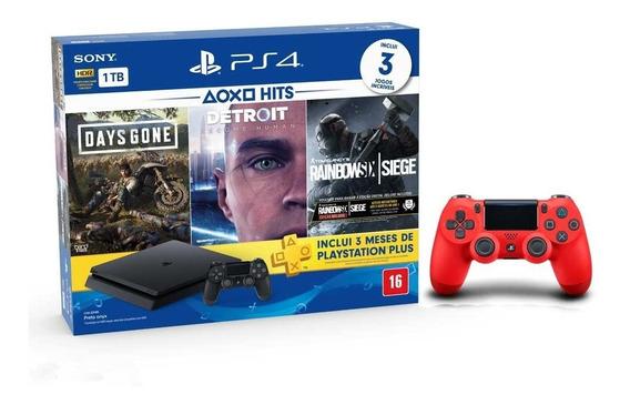Console Playstation 4 Slim 1tb Hits Bundle + 2 Controles - Ps4