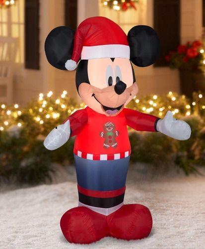 Inflable Mickey Disney Navidad Luces Interna 1.53 Mts 85vdes