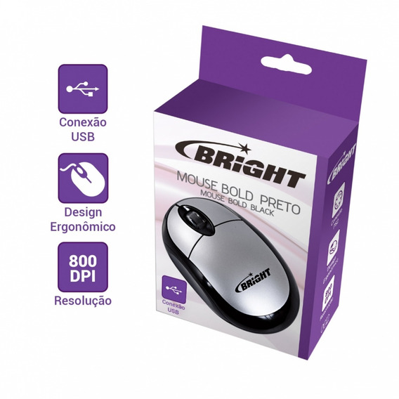 Mouse Prata Usb - Brigth