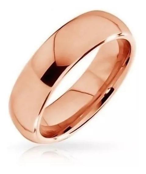 Aliança De Tungstenio 6mm Banhada Ouro Rose - Avulsa