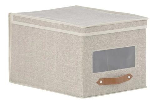 Caja Organizadora Tela 30x25x40 Cm Beige Hc