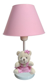 Abajur Infantil Ursinho Rosa Para Quarto Bebê Criança Menina