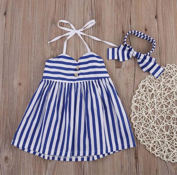 Vestido Y Moño Bebé Niña Rayas 2