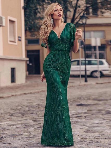 Bellisimo Vestido Fiesta Largo Tul Verde Divino Importado