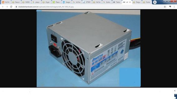 Fonte P/ Pc - Asvotek Model Av-500 Ultra 20/24 Pinos 250w