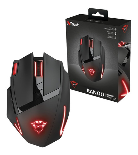 Mouse Trust Gxt130 Gaming Gamer Led Inalámbrico 9 Botones