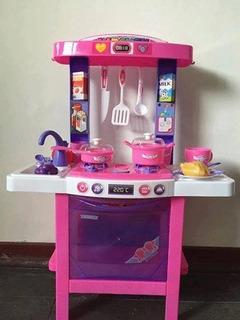 Cocina De Juguete Rosada Con Luces Y Sonidos +35 Accesorios