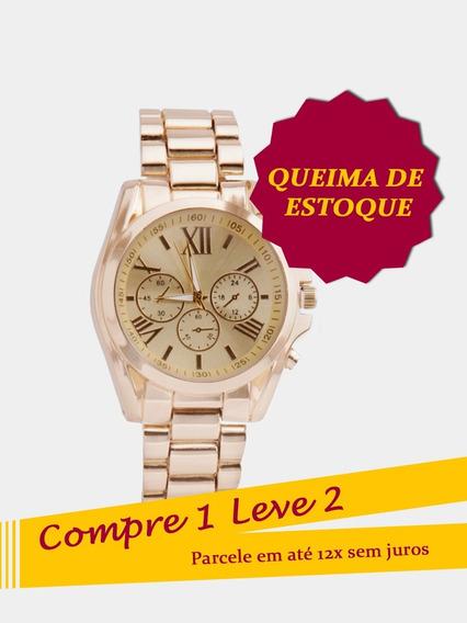 Relógio Feminino Dourado De Luxo + Brinde