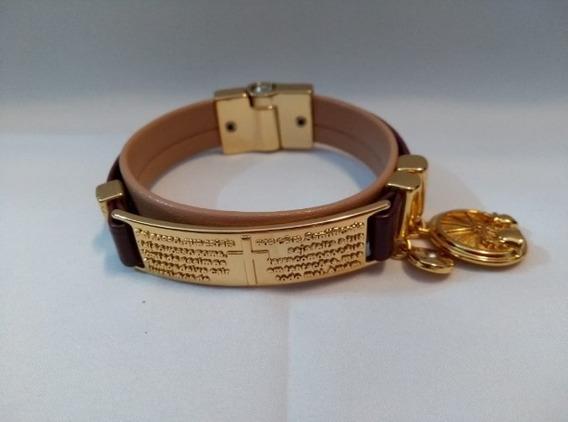 Pulseira Bracelete Flor De Lis Com Couro Semi Joia Numero 00