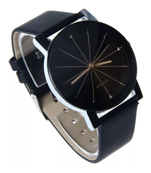 Relógio Social Masculino Pulseira Em Couro Luxo