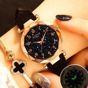 Relógios De Pulso Feminino Céu Estrelado Quartzo Preto