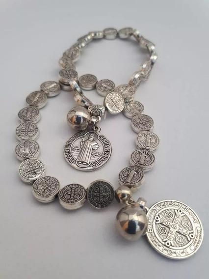 Pulseira Medalha De São Bento Prateada