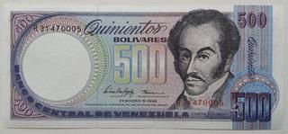 Billete Venezuela 500 Bolívares Febrero 5 1998 R8 Unc