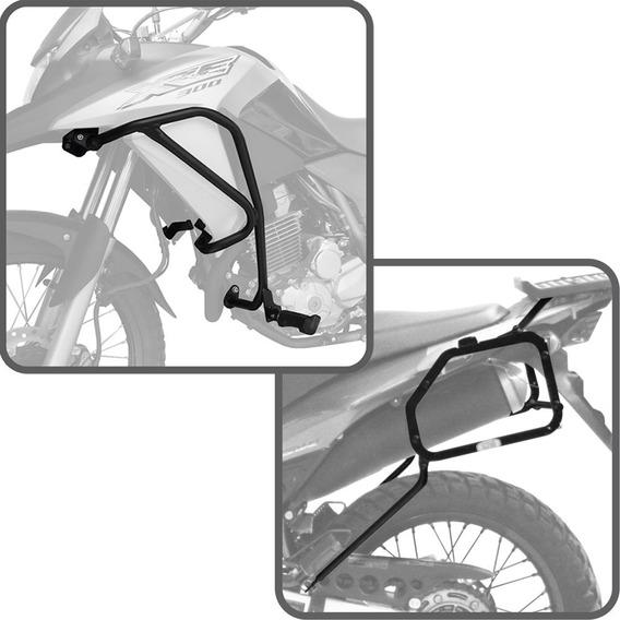 Kit Honda Xre300 Suporte Lateral + Protetor Motor Carenagem