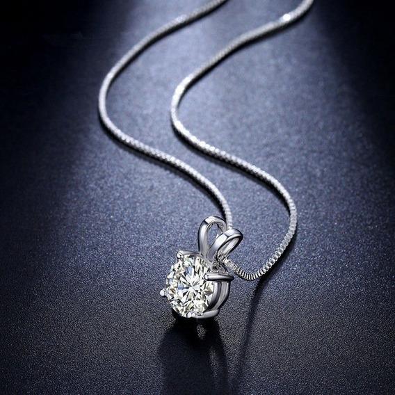 Elegante Collar De Acero Inoxidable Con Cristal Para Dama