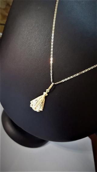 Cordão De Ouro 18k Piastrine 45cm Com Pingente N Senhora