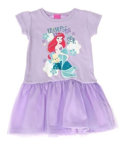 Vestido De Ariel Manga Corta Con Tul Hermoso Diseño Colores