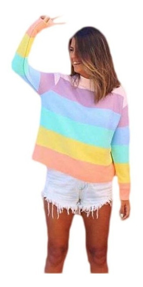 Blusa Tricot Trico Colorido Moda 2018 Malha Grossa Lançament