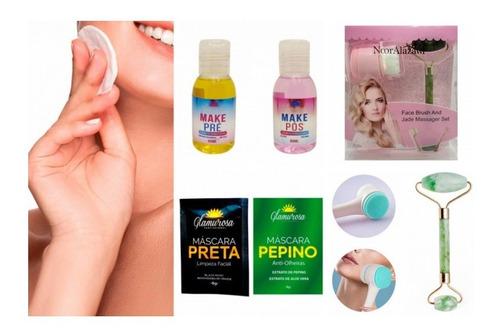 Imagem 1 de 6 de Escova Face Brush + Rolo Jade + Tratamento Facial Para Make