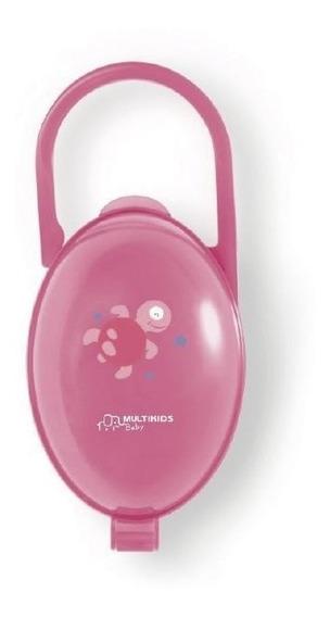 Porta Chupetas Paci Clean - Tartaruga Rosa - Multikids Baby